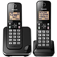 Panasonic - Cordless Phone with Amber Backlit Display, black, 2 Handsets