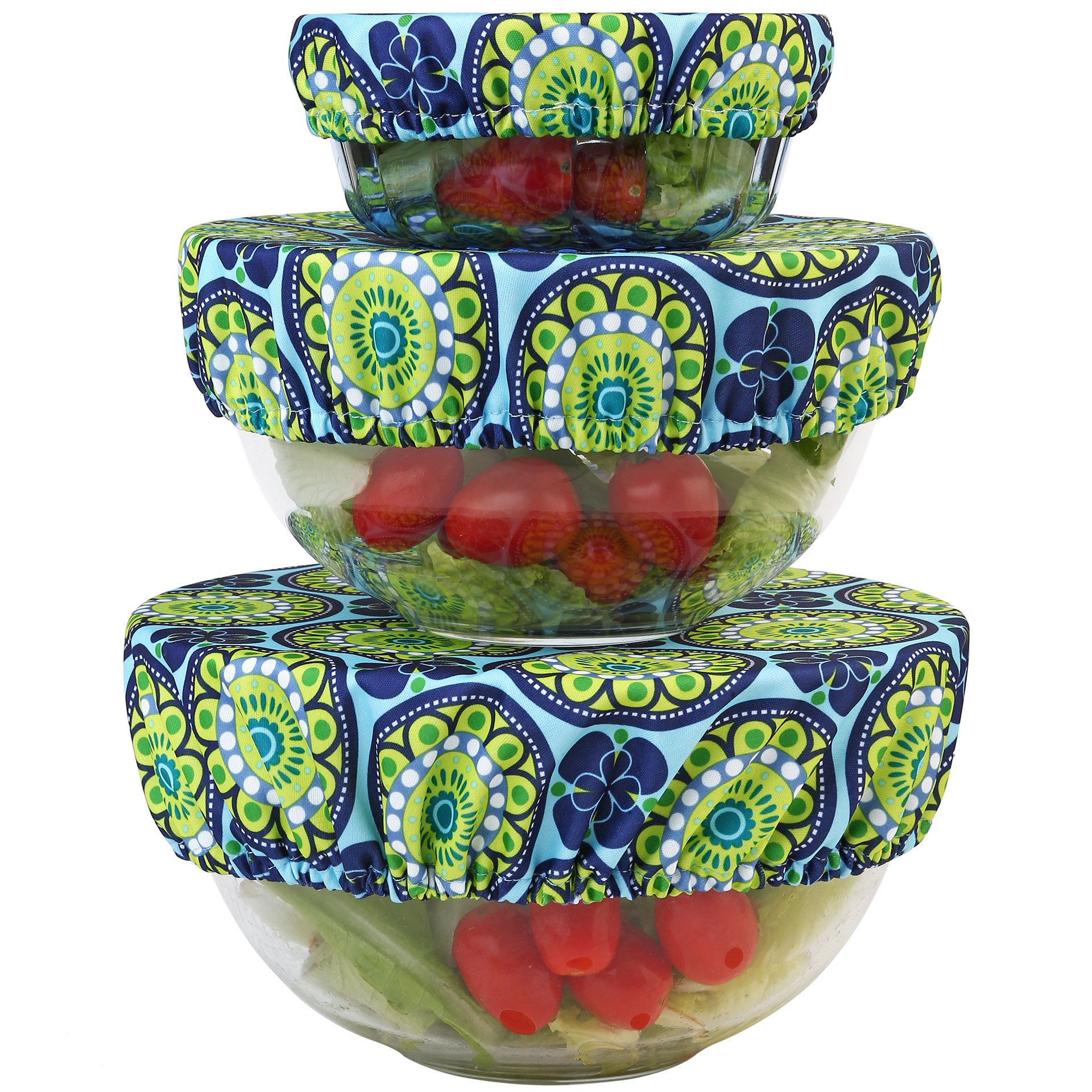 Wegreeco Reusable Bowl Covers - Set of 3,Funky Flower