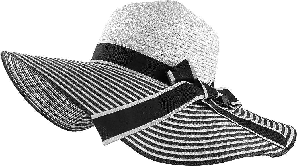 db90e1914e93f Aerusi Women s Most Striped Brim Floppy Year Round Straw Hat