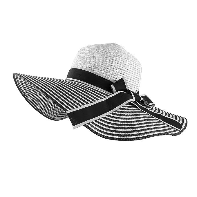 cbab87bc Aerusi Straw Bowknot Roll Up Stripe Large Wide Brim Floppy Caps Beach Sun  Hat (Black