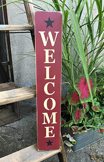 Welcome Vertical Wood Sign Front Door Decor Porch Welcome Sign 25 Tall X 45 Wide Welcome Home