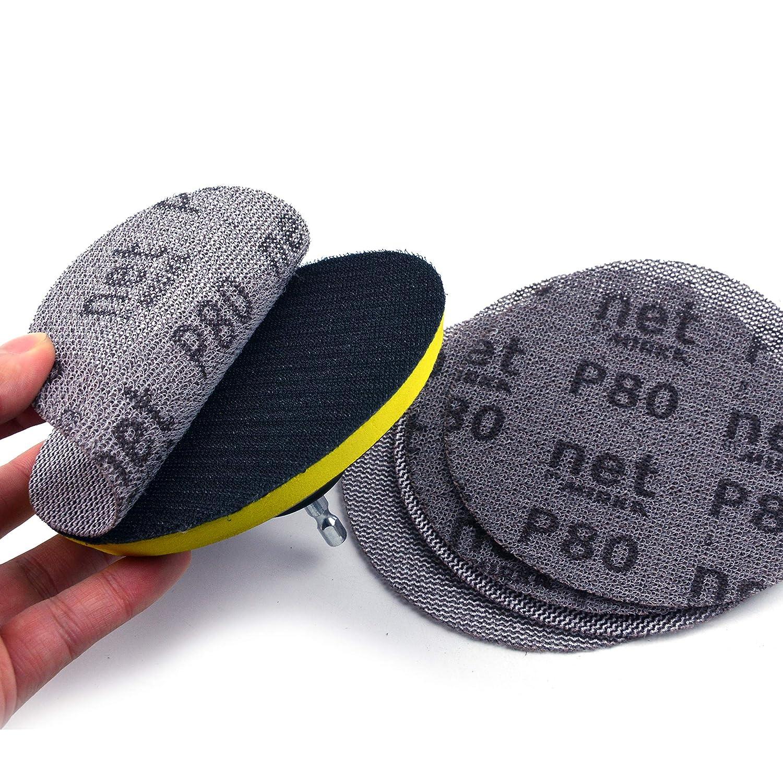 Assorted Grit Mesh Dust-free Anti-blocking Hook/&Loop Sanding Discs Round Self-adhesive Abrasive Sandpaper 5 Inch 30-Pack 125mm