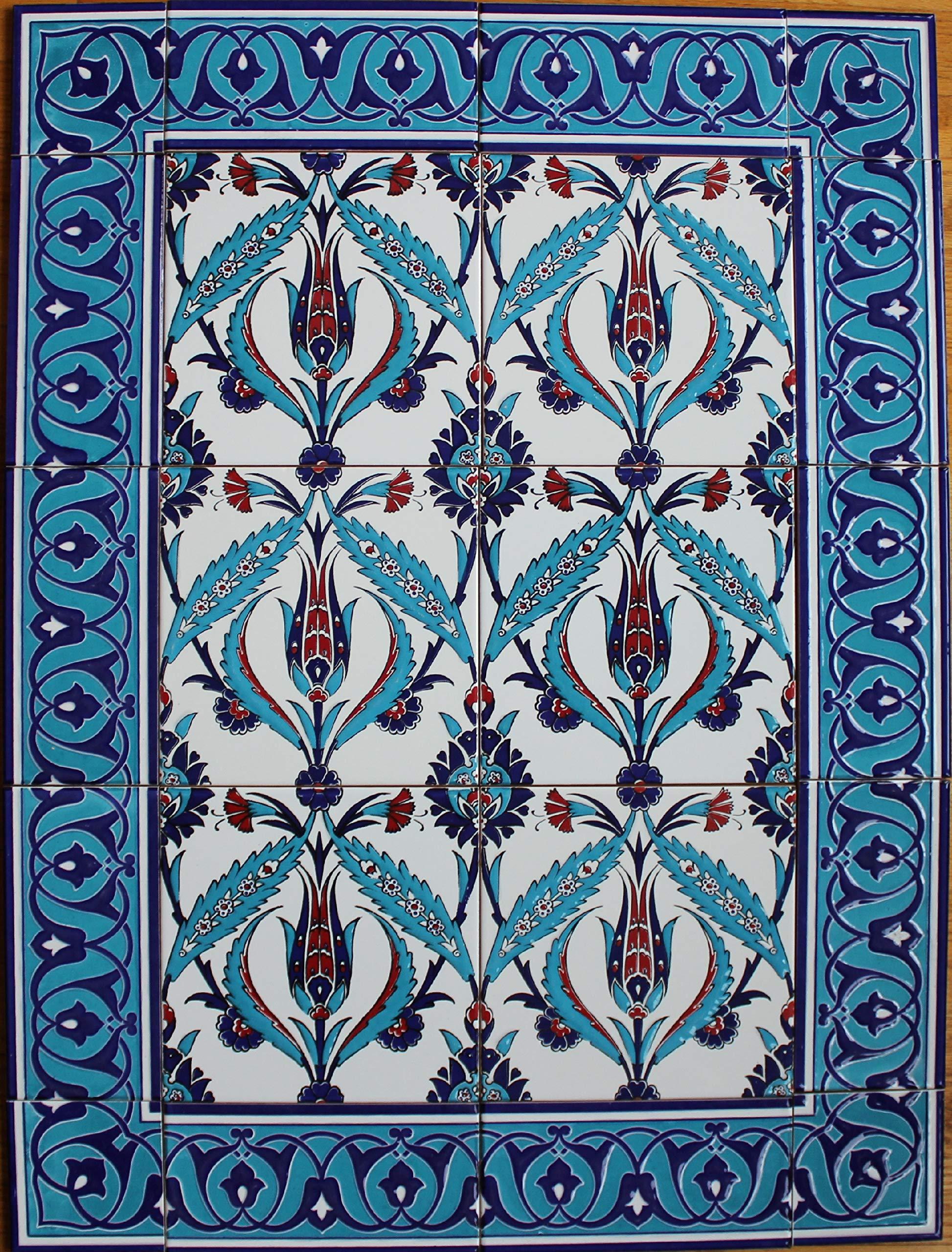 Anatolian Artifacts Turkish Iznik Tulip & Floral Pattern Ceramic Tile Mural Panel 24''x32''