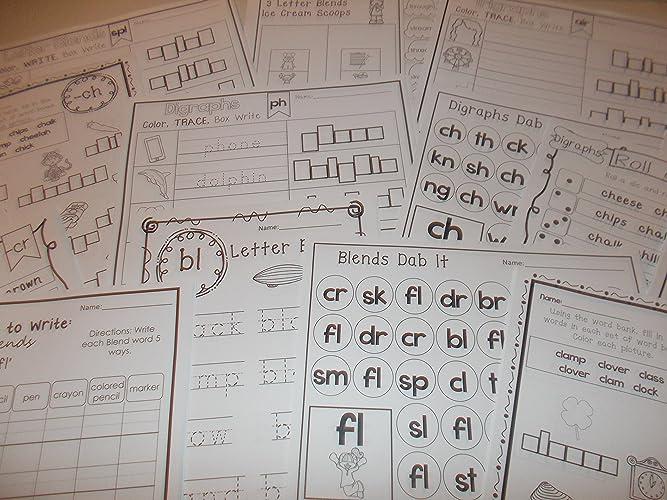 Amazon 254 Bulk Printed Blends And Digraphs Worksheets Handmade