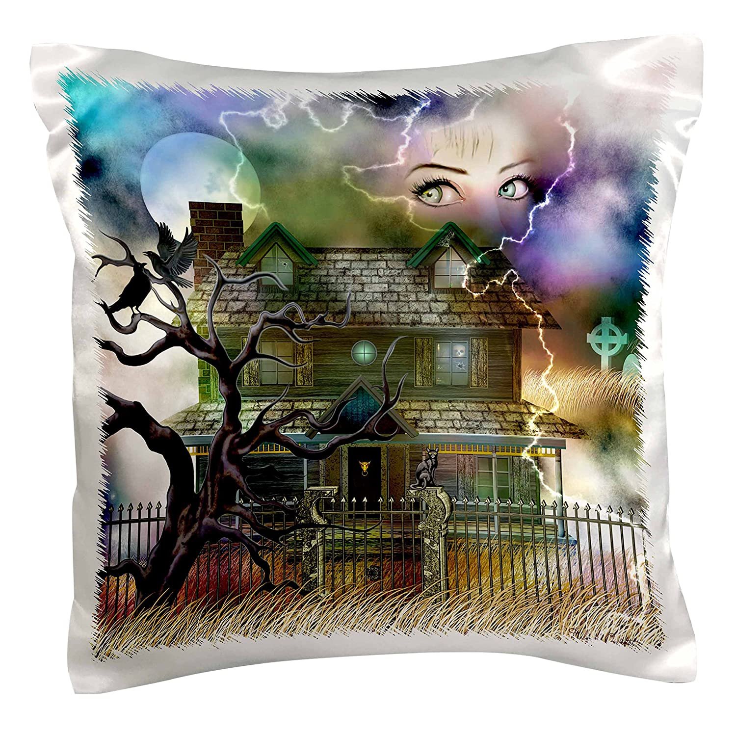 Black cat and More-Pillow Case 16 by 16 Graveyard 3dRose pc/_11652/_1 A Spooky Collage of an Old Haunted House