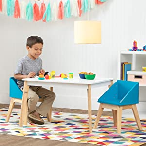 Wildkin Kids White Modern Table and Chair Set for Boys and Girls, Mid-Century Modern Activity Table Set Includes Two Matching Blue Chairs, Features Stain-Resistant Top and Solid Natural Wood Legs