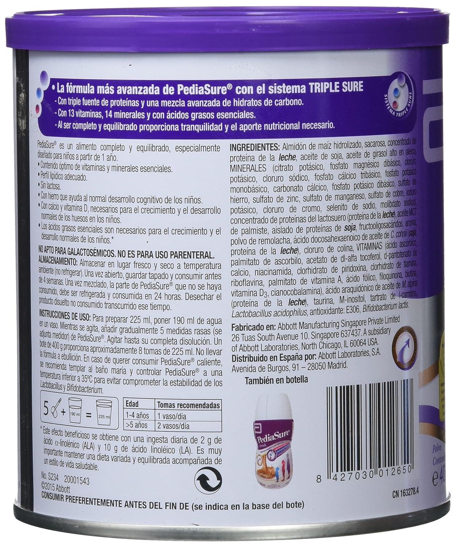 PediaSure Polvo lata 400g sabor fresa. Alimento completo y equilibrado para niños a partir de 1 año de edad: Amazon.es: Salud y cuidado personal