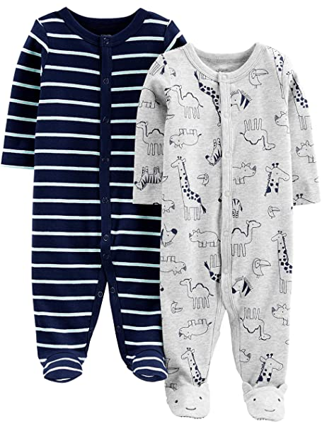 220b85130124 Amazon.com  Simple Joys by Carter s Baby Boys  2-Pack Cotton Footed ...