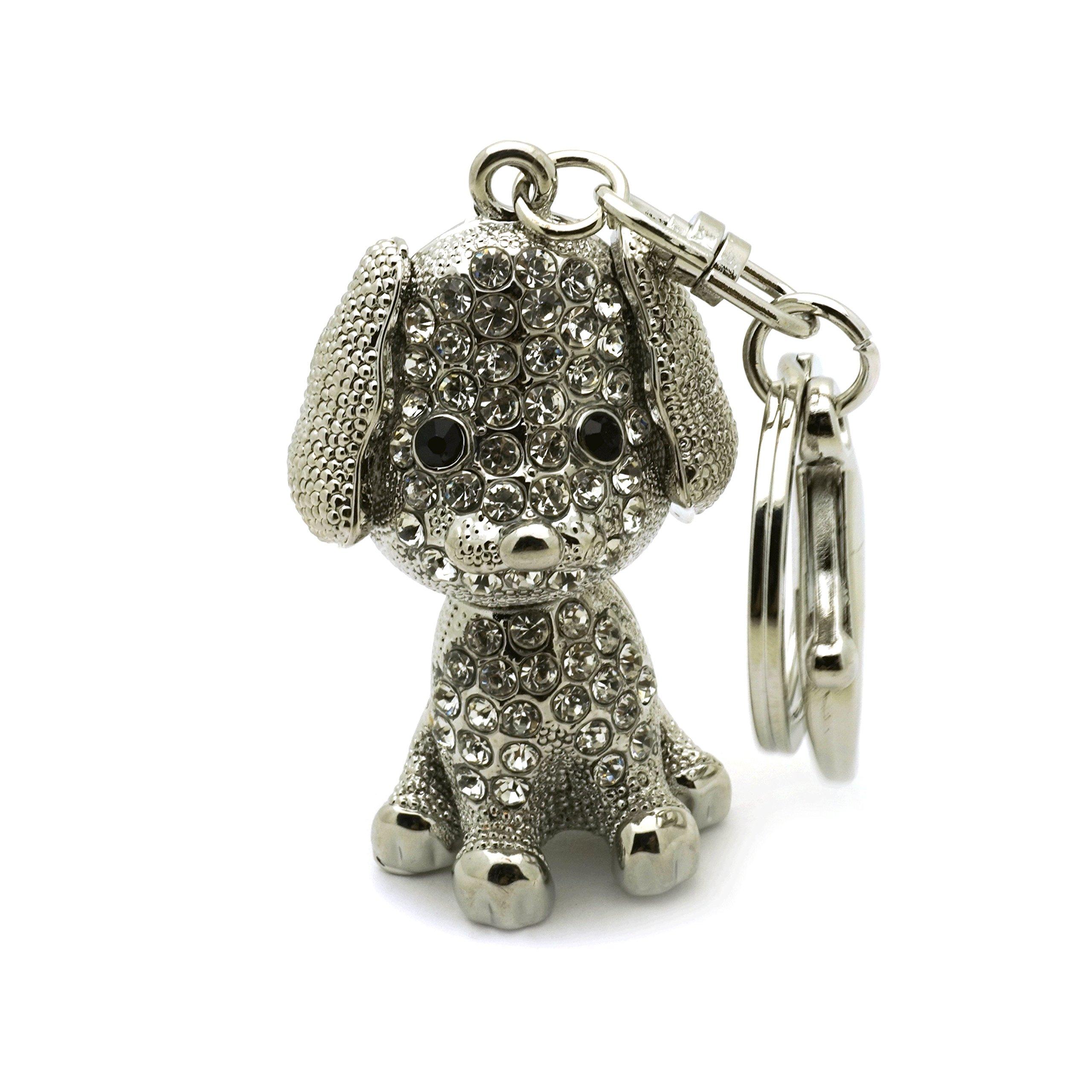 Teri's Boutique Dog Puppy Lover Great Gift Rhinestone 3D Women Kids Charm Keychain (Silver)