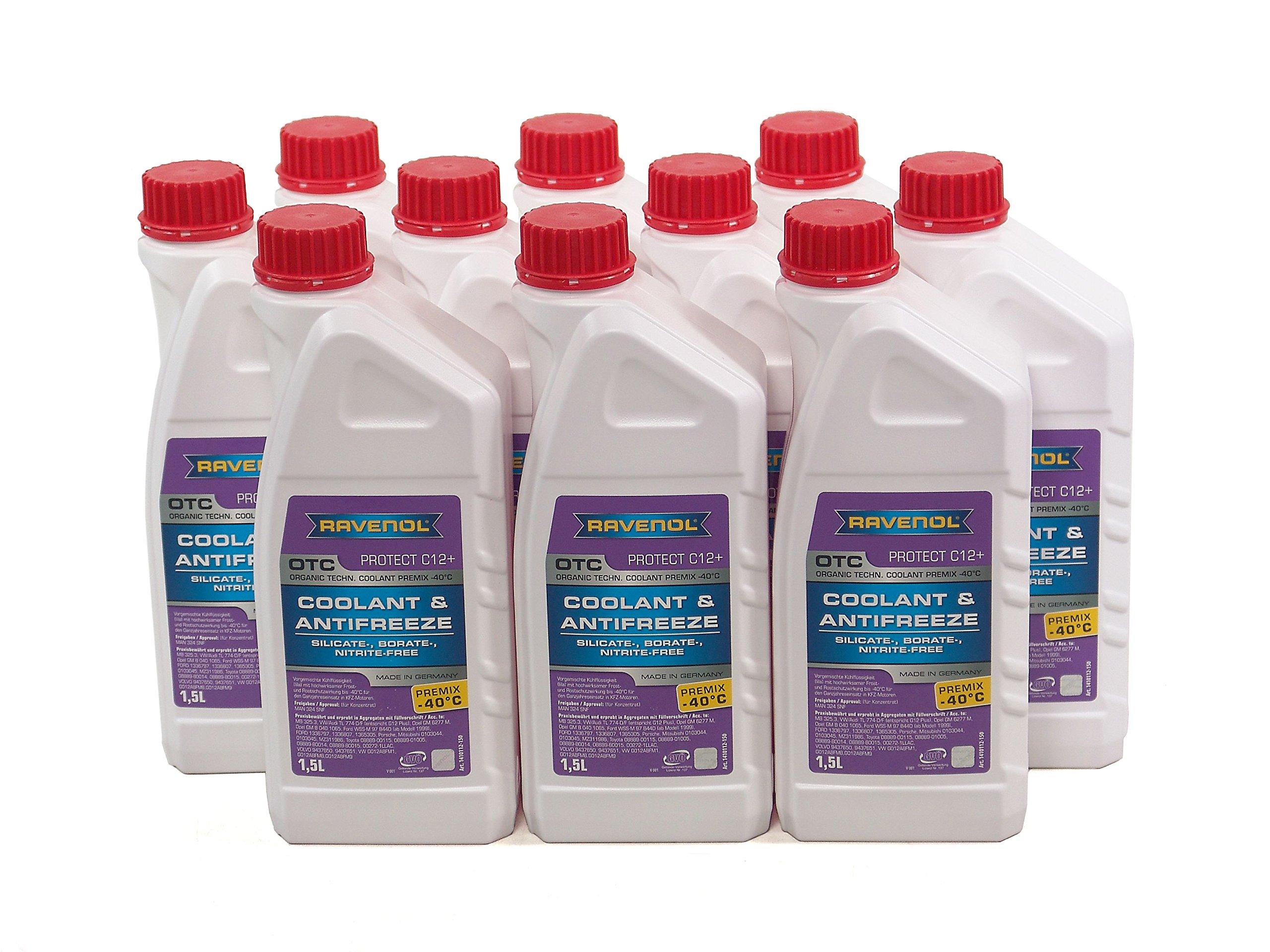 RAVENOL J4D2000-1-10 OTC C12+ Coolant Antifreeze Premix (G12 Plus) (1.5L, Case of 10)
