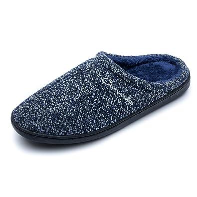 ICEGREY Herren Mode Strickte Warme Hausschuhe Gemütliche Plüsch Fleece Gefüttert Slip auf Wärmehausschuhe Navy Blau 45 9KZ04NV1C