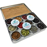 Gin Botanicals & Spices Gift Set– Garnish your Gin and Tonic with 12 different Botanicals | Infuse Gin and Tonic Cocktails | Includes Hibiscus, Juniper Berries, Allspice, Rose Petals, Star Anise, Cardamom, Coriander, Pink Peppercorn, Lemon Grass, Cinnamon and Elderberries