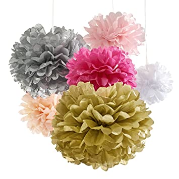Amazon 18 tissue paper flowers pom poms for party decorations 18 tissue paper flowers pom poms for party decorations birthday party supplies pink gold junglespirit Gallery