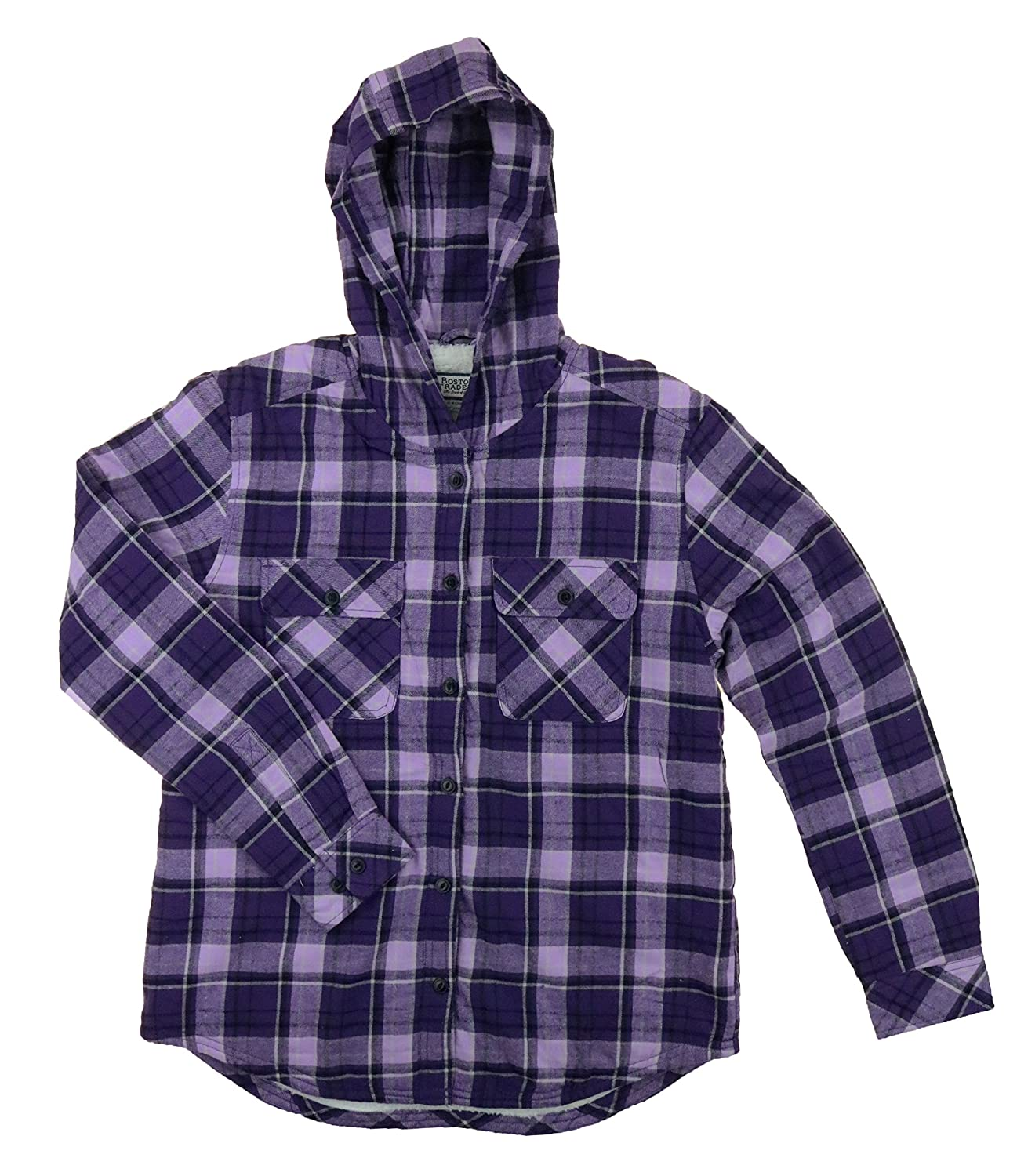 Boston Traders Ladies' Sherpa Lined Hooded Flannel Top Black & White Plaid
