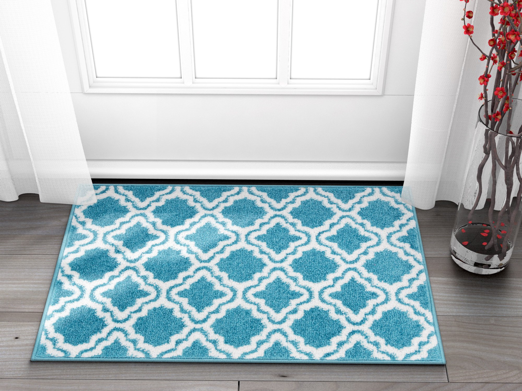 Well Woven Small Rug Mat Doormat Modern Kids Room Kitchen Rug Calipso Blue 1'8'' x 2'7'' Lattice Trellis Accent Area Rug Entry Way Bright Carpet Bathroom Soft Durable
