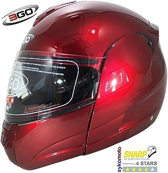 3GO 115 MODULARES MOTOCICLETA TURISMO DVS ECE ACU BURGANDY CASCO (XL (61-62