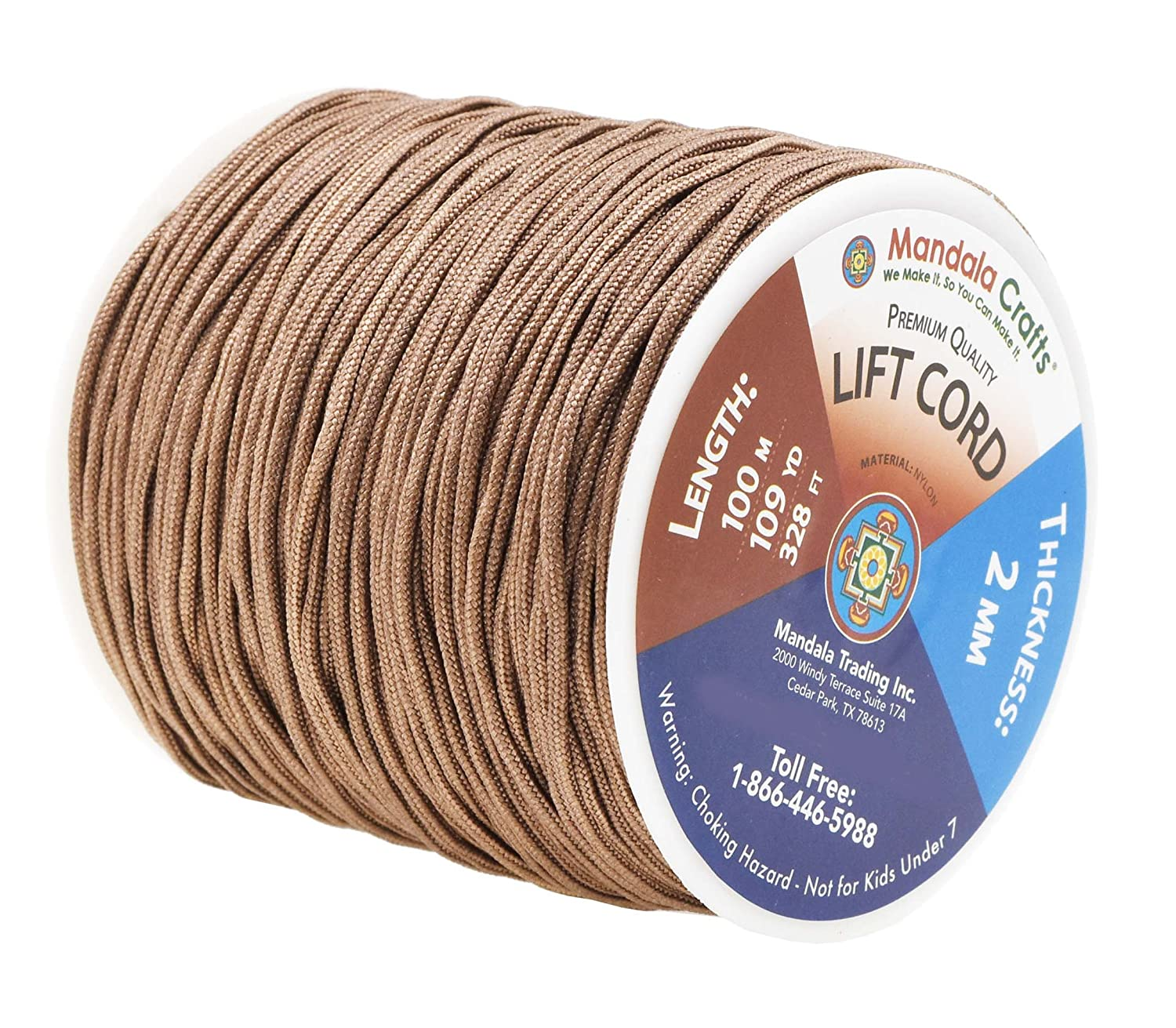 and Rollers Mandala Crafts Blinds String Shades 1mm, Chocolate Brown Lift Cord Replacement from Braided Nylon for RVs Windows