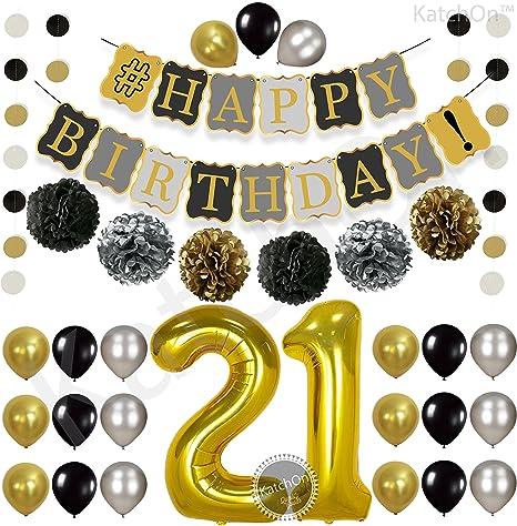 Amazoncom Vintage 21st BIRTHDAY DECORATIONS PARTY KIT Black Gold