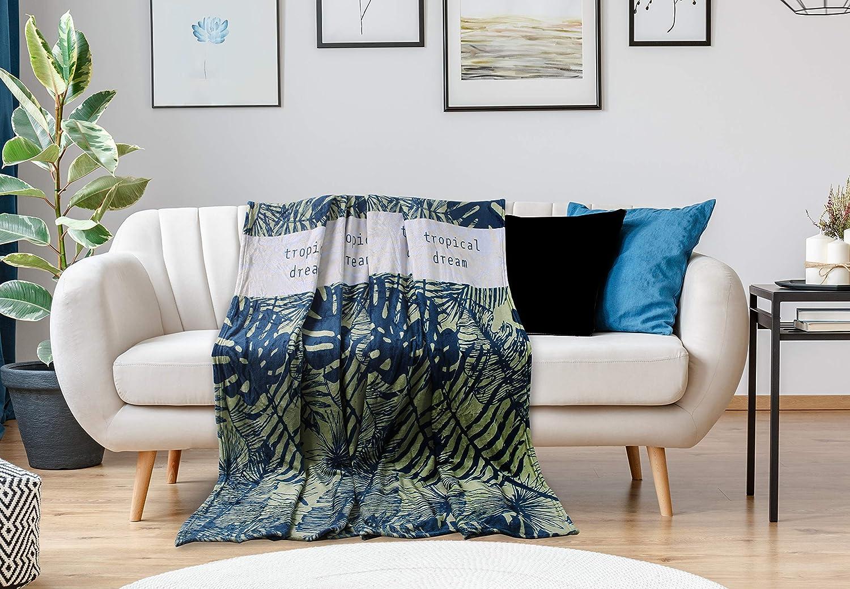 DecoKing Couverture 150x200 cm Couette en Micro-Fibre Plaid Couvre-lit Polaire Doux Douillet Vert Bleu Gris Rainforest Jungle Collection