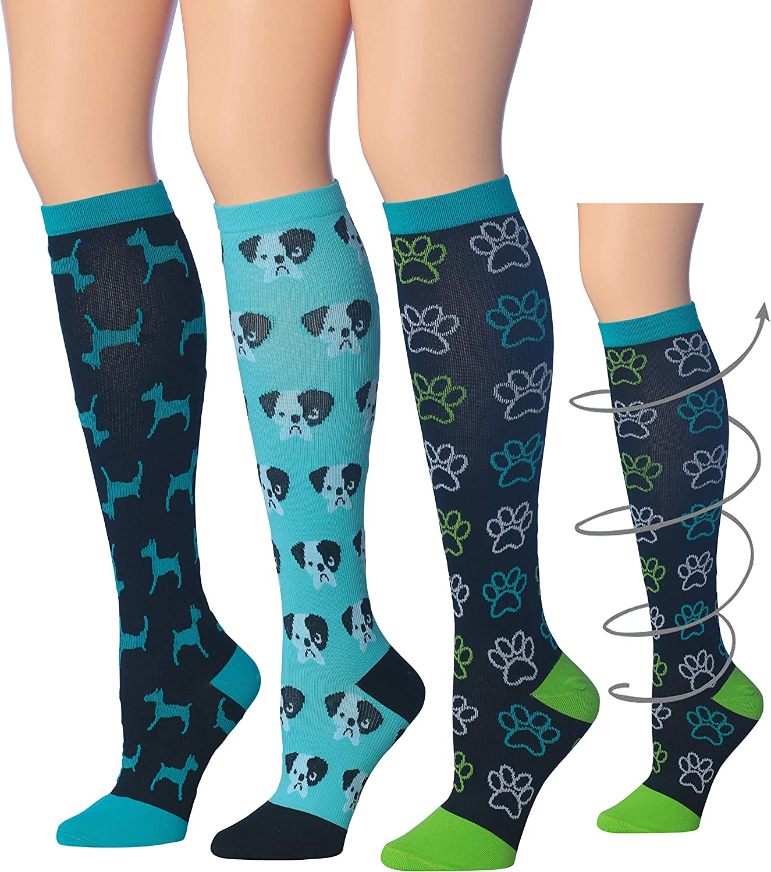 3-Pairs 16-20 mmHg // 12-14 mmHg Ronnox Compression Socks for Men /& Women Colorful Patterned Knee High Socks