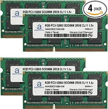 32GB 4x8GB PC3-12800S DDR3-1600MHz 1.35v 204pin CL11 Laptop Notebook Memory RAM