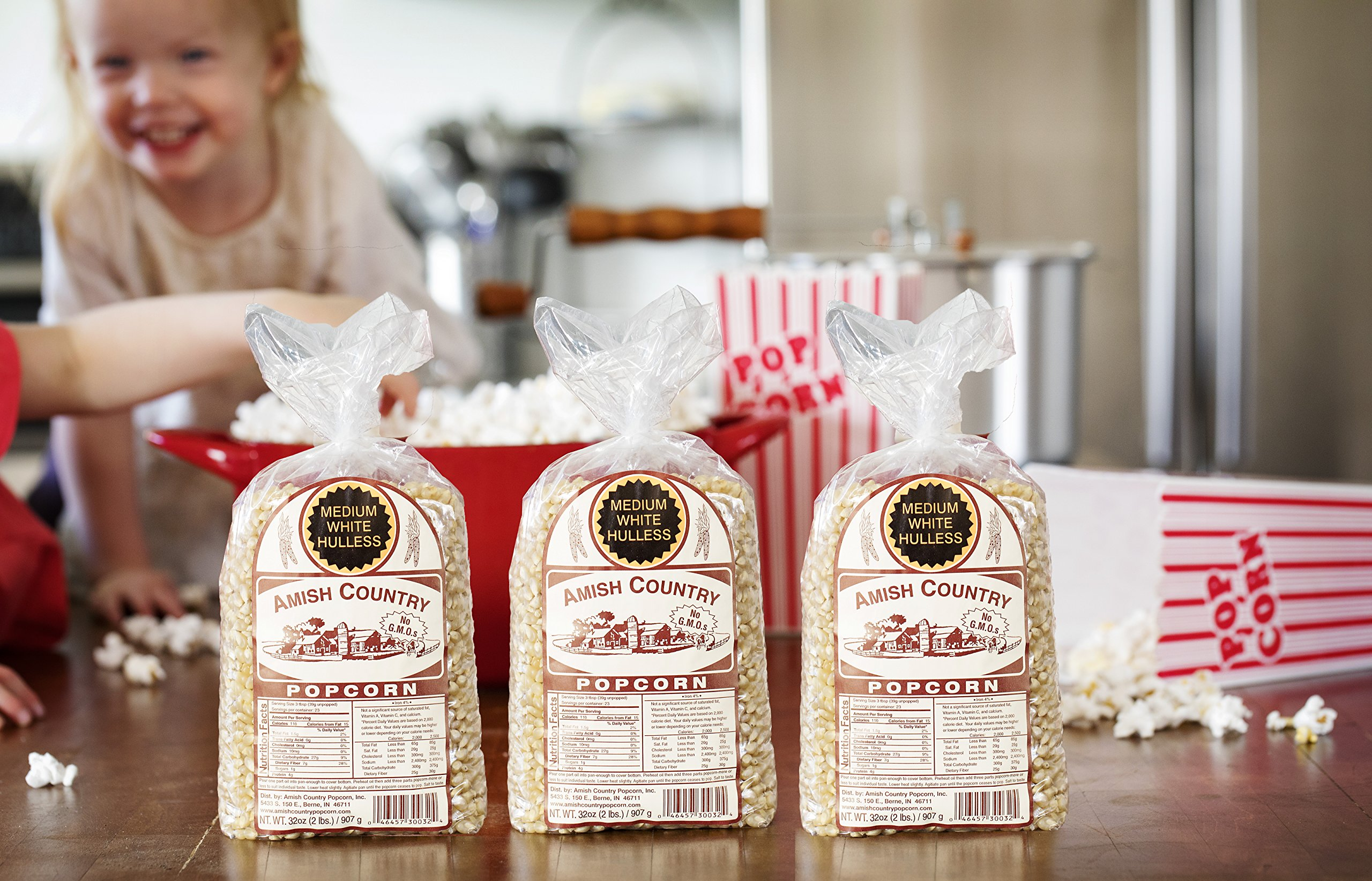 Amish Country Popcorn - 3 (2 Pound Bags) Medium White Popcorn Gift Set Old Fashioned, Non GMO and Gluten Free - With Recipe Guide by Amish Country Popcorn (Image #4)