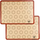 "Silicone Macaron Baking Mat - Set of 2 Half Sheet (Thick & Large 11 5/8"" x 16 1/2"") - Non Stick Silicon Liner for Bake…"