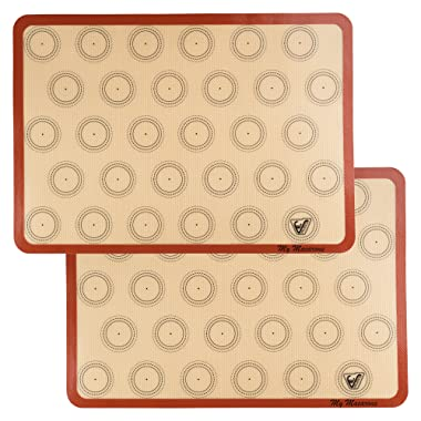 Silicone Macaron Baking Mat - Set of 2 Half Sheet (Thick & Large 11 5/8  x 16 1/2 ) - Non Stick Silicon Liner for Bake Pans & Rolling - Macaroon/Pastry/Cookie Making - Professional Grade Nonstick