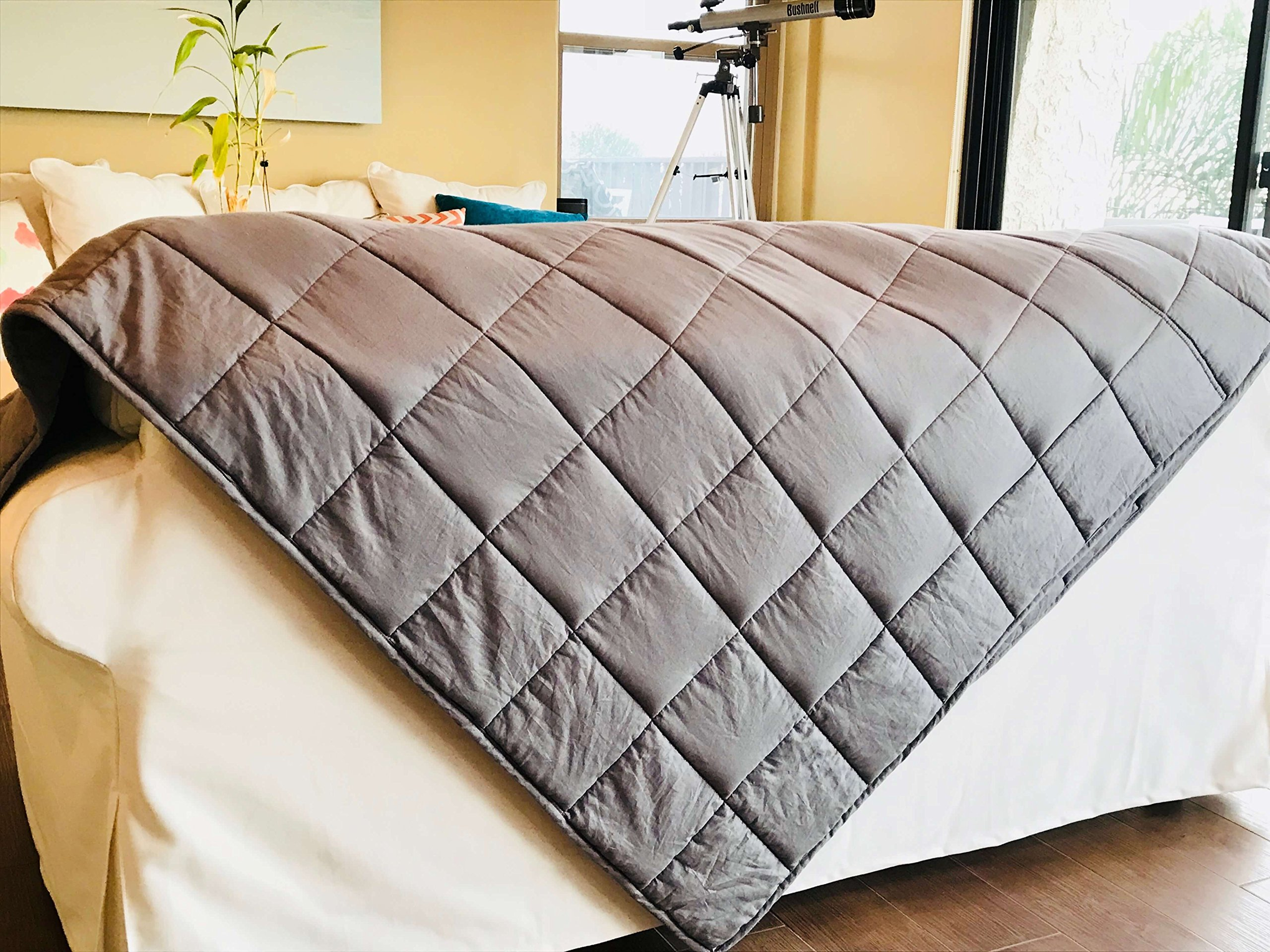 15lb Premium Weighted Blanket for Adults & Kids - Oversized 60''x 80'' Design – Let Gravity Help You Achieve a Deeper Sleep – Relief from Stress, Anxiety, Insomnia, Sensory Disorder, Autism, Depression