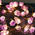 MIYA LIFE Natural Amethyst 10 ft 40 LED Copper Wire String Lights for Anniversary, Bedroom, Patio, Garden, Gate, Yard, Parties, Wedding, Amethyst, 10ft