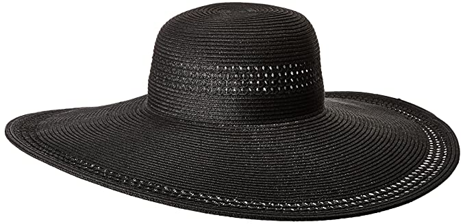 0ed907a2b78808 Image Unavailable. Image not available for. Colour: Nine West Women's  Packable Super Floppy HAT, Black, one Size