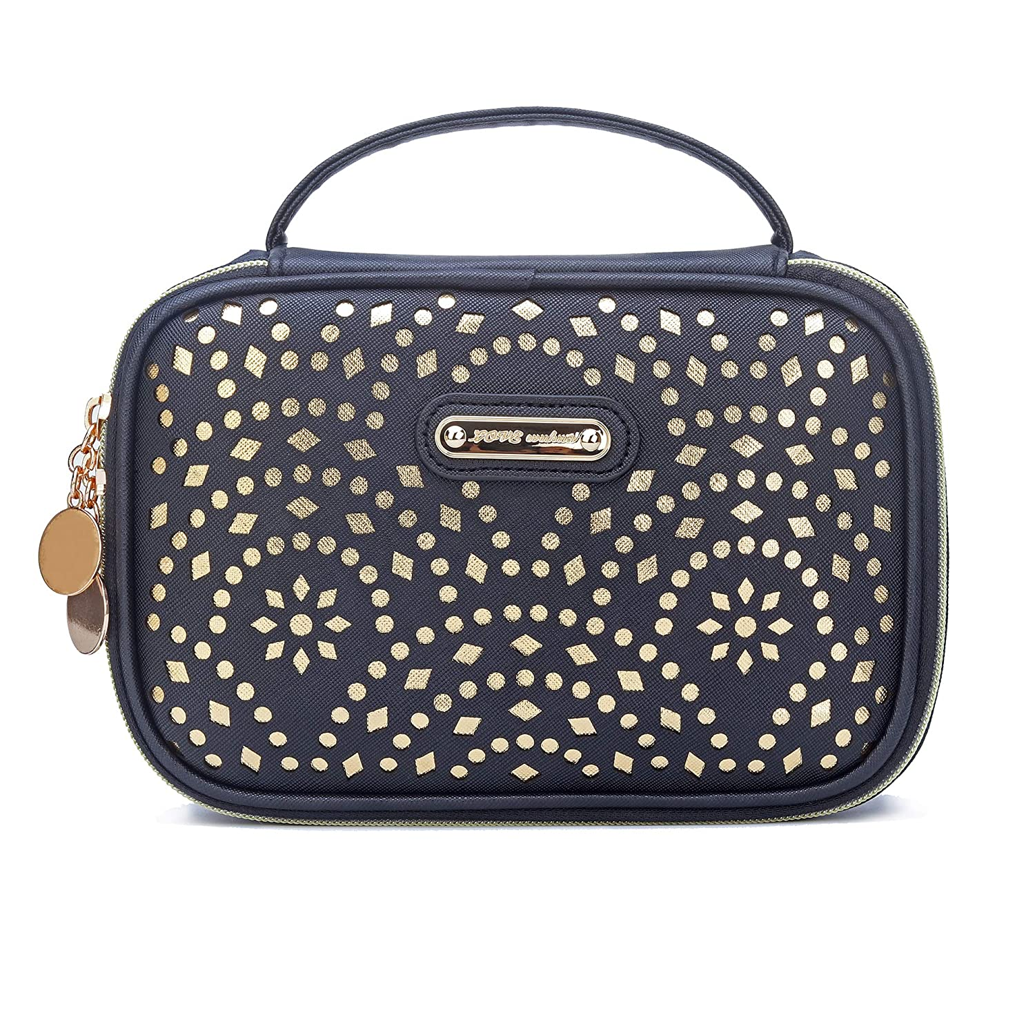 Makeup Bag, WuHua Gold Pattern Cosmetic Bag With Zipper,Toiletry/Travel Bag For Gril,Brushes Accessories Storage Bag,For Portable Hand Pouch Organizer