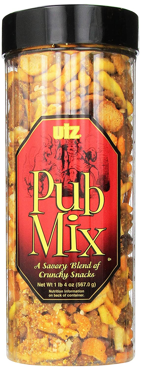Utz Pub Mix - 20 Ounce Barrel - Savory Snack Mix, Blend of Crunchy Flavors for a Tasty Party Snack - Resealable Container - Cholesterol Free and Trans-Fat Free