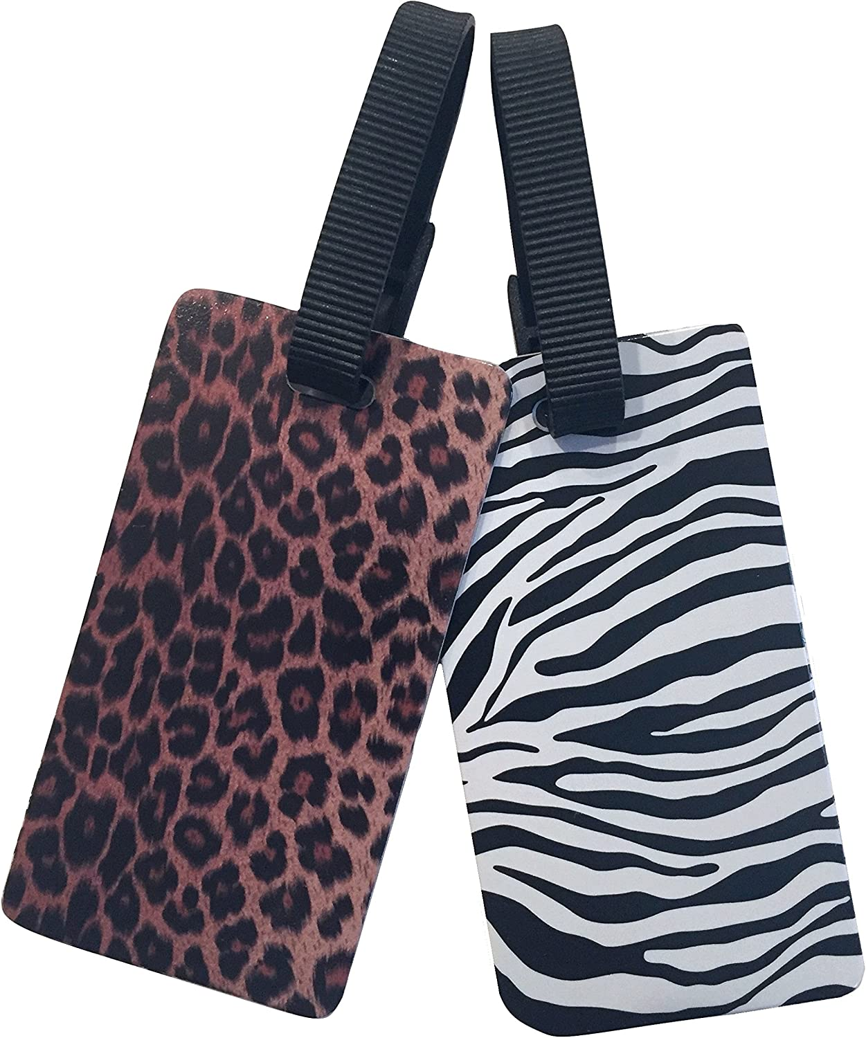 Nicole Miller 2-Pack Luggage Tags for Suitcases - Travel ID Identification Labels Set for Bags & Baggage (Zebra & Leopard Print)