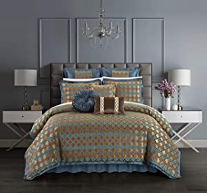 Chic Home Sue 9 Piece Comforter Set Chenille Geometric Scroll Pattern Flange Border Bedding - Bed Skirt Decorative Pillows Shams Included, Queen, Blue