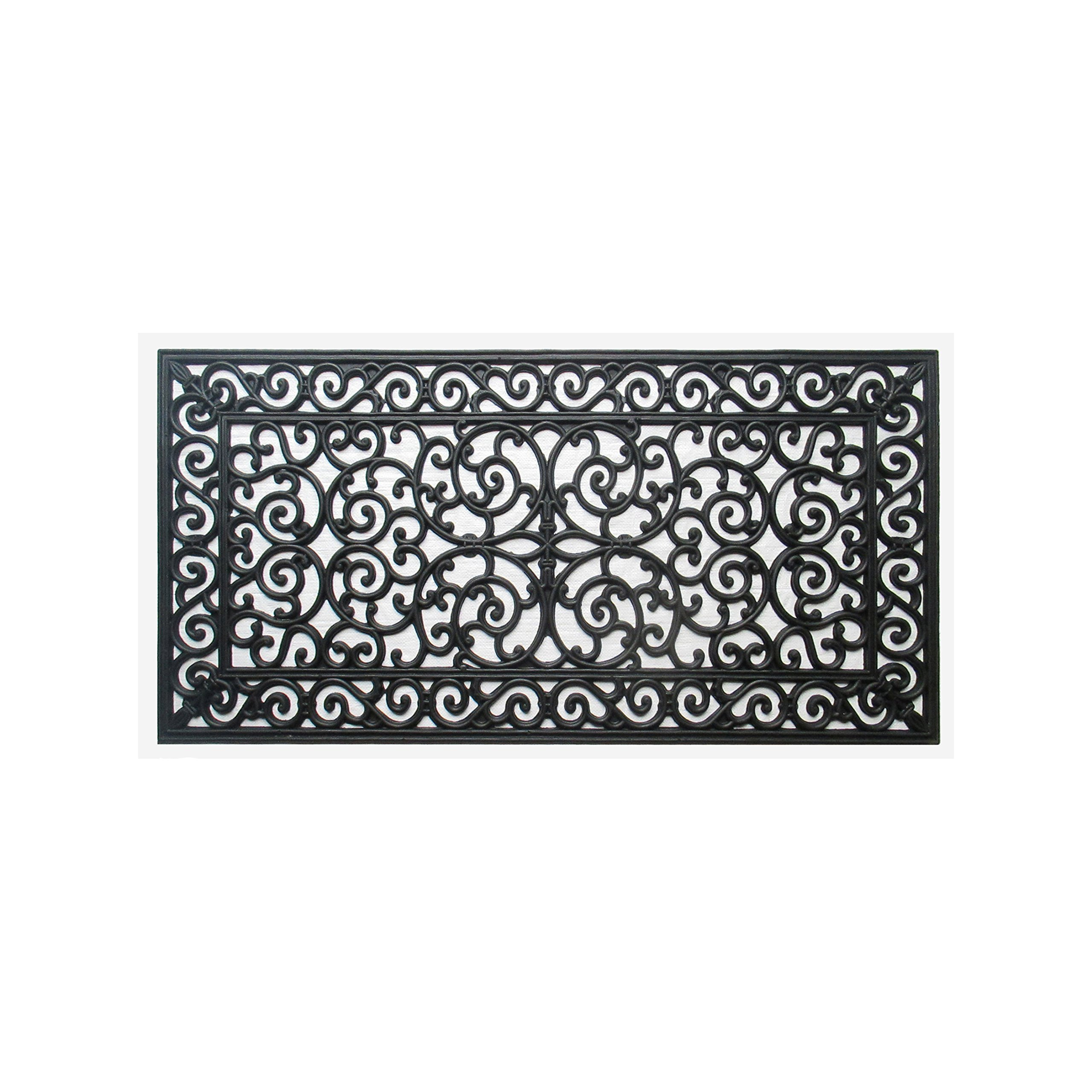 A1 Home Collections FIRST IMPRESSION Audie Modern Indoor/Outdoor 23.62'' L x 47.25'' W Easy Clean Rubber Entry Way Doormat For Patio, Front Door, All Weather Exterior Doors/Large Size for Double Doors