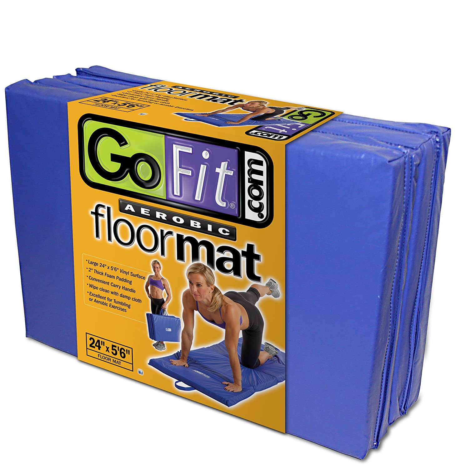 GoFit Foldable Foam Aerobic Floor Mat 24 X 5 6 Durable Padded Workout Mat with Carrying Handles