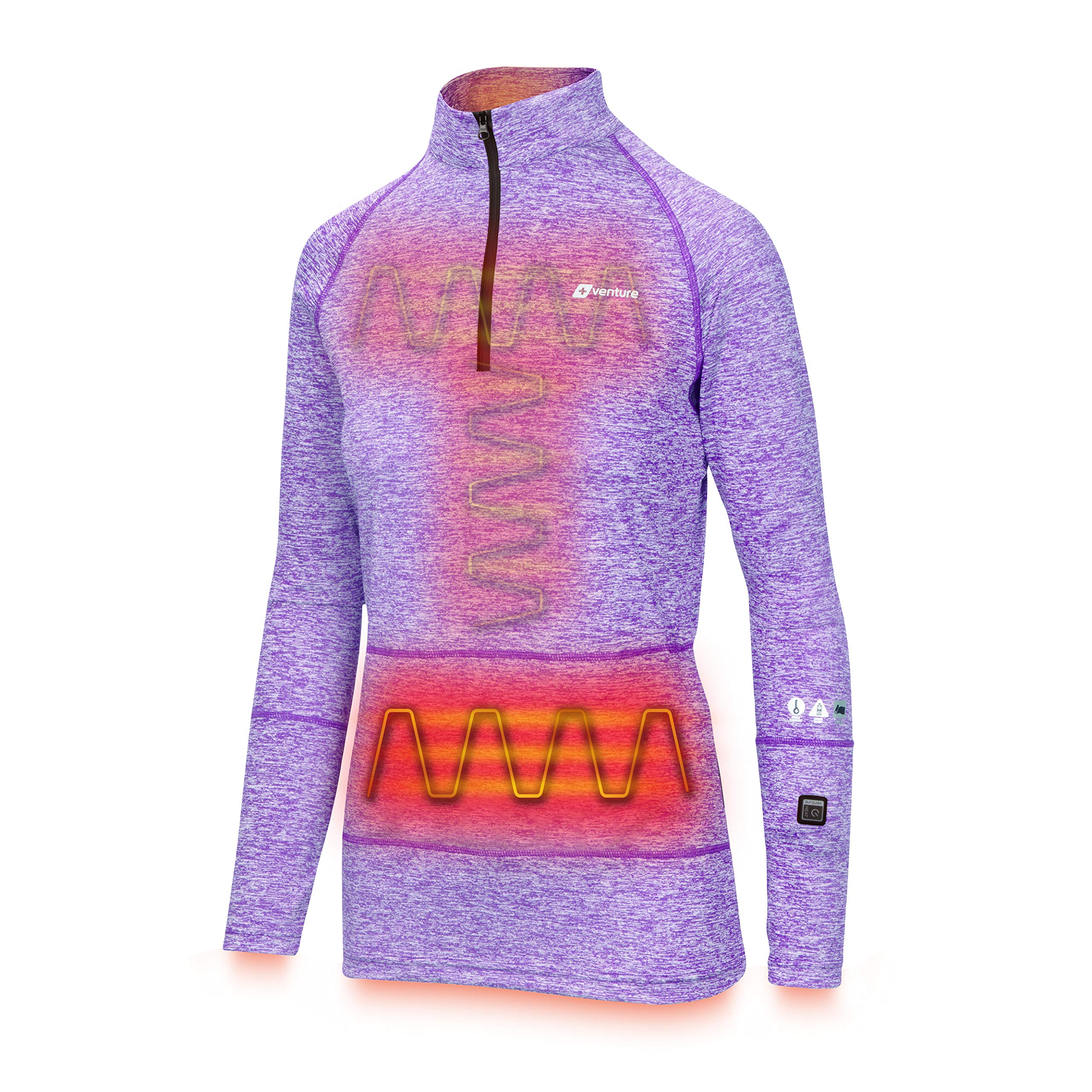 Venture Heat Women's Heated Shirt Thermal Underwear with Battery Pack - Long John, 1/4 Zip Electric Base Layer, Nomad (S, Purple) by Venture Heat