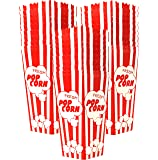 "30 Popcorn Boxes, 7.75"" Inches Tall and Holds 46 Oz. with Old Fashion Vintage Retro Design with Red and White Colored, Nostalgic Carnival Stripes by Original Salbree"