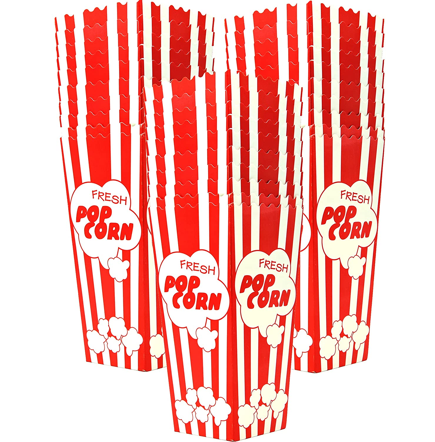"30 Popcorn Boxes, 7.75"" Inches Tall and Holds 46 Oz. with Old Fashion Vintage Retro Design with Red and White Colored Nostalgic Carnival Stripes Alternative to Popcorn Bags and Popcorn Tubs by Salbree"