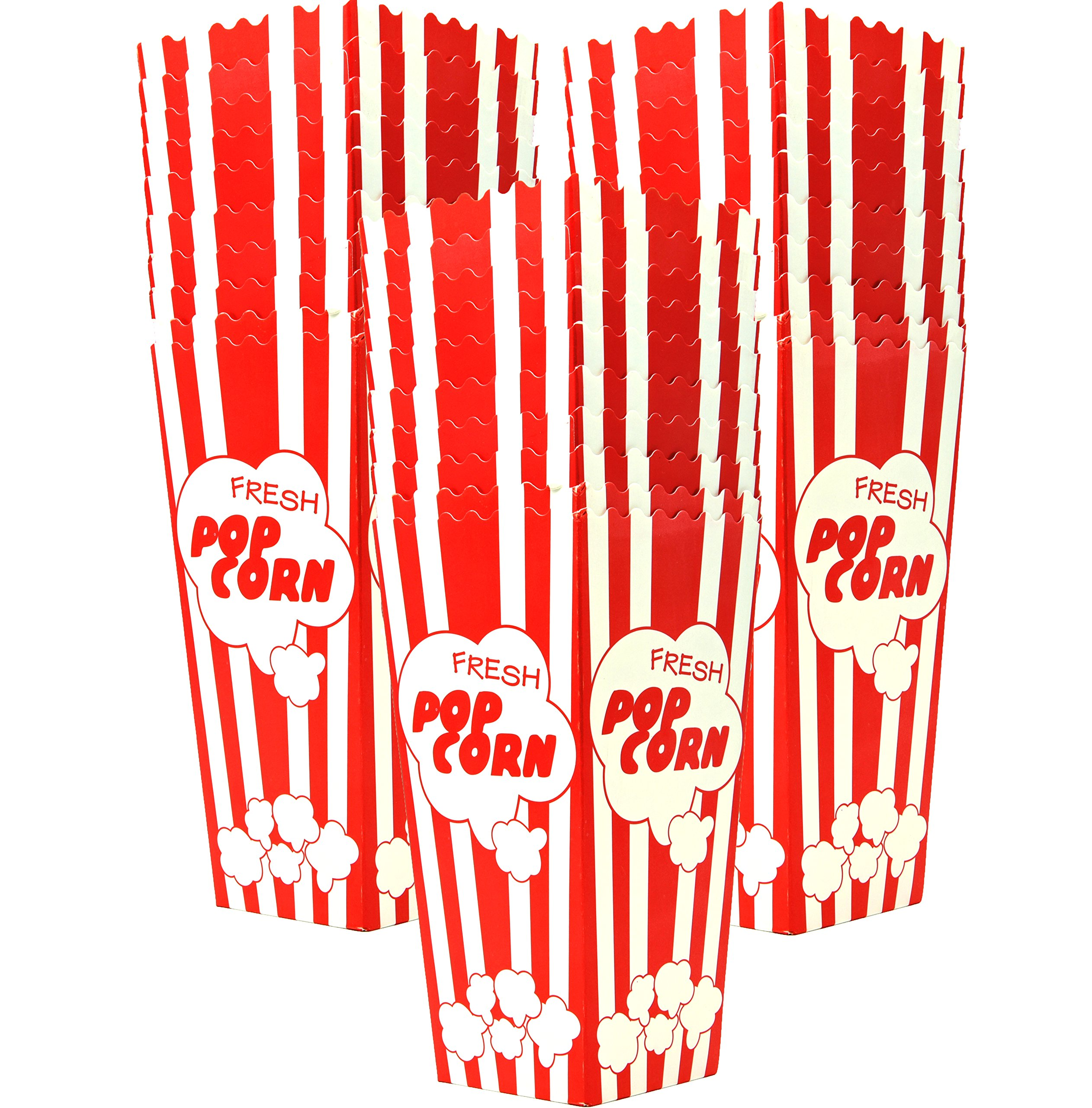 30 Popcorn Boxes, 7.75'' Inches Tall and Holds 46 Oz. with Old Fashion Vintage Retro Design with Red and White Colored, Nostalgic Carnival Stripes by Original Salbree