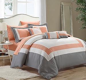Chic Home Duke 10 Piece Comforter Set, Queen, Peach