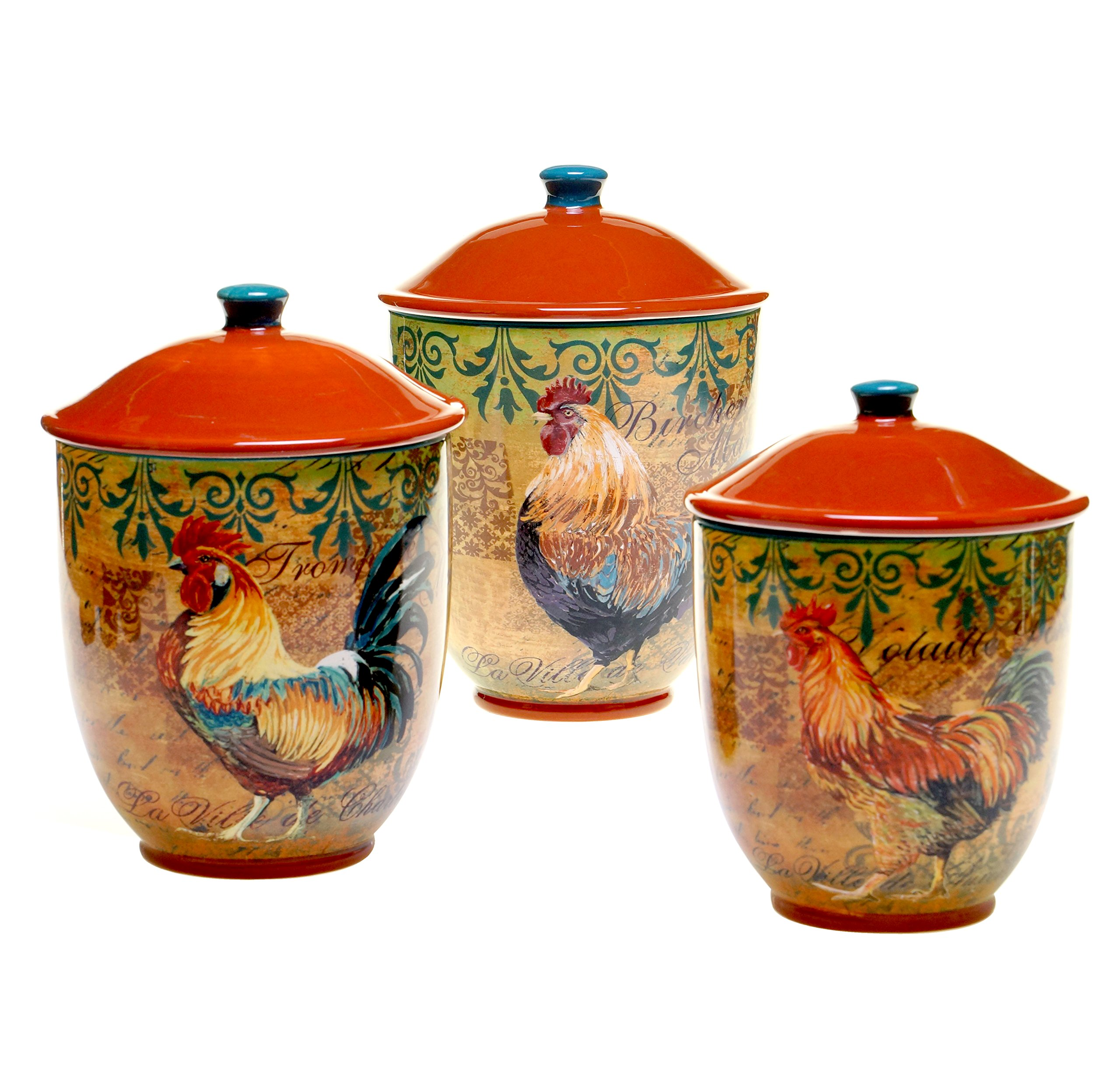 Certified International 3-Piece Rustic Rooster Canister Set, Multicolor by Certified International (Image #1)
