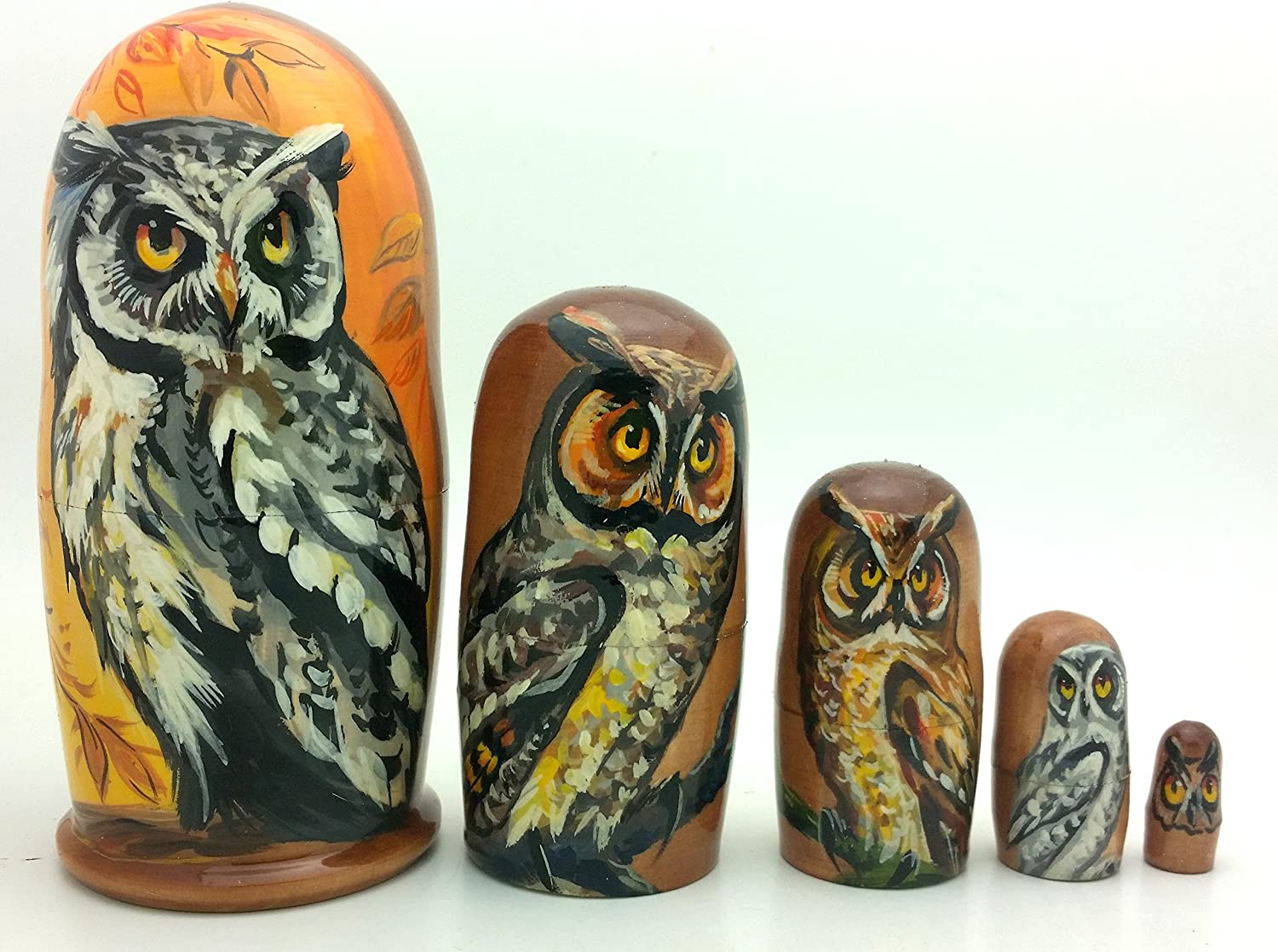 OWL Nesting Dolls Russian Hand Carved Hand Painted 5 Piece Matryoshka Doll Set 4 H