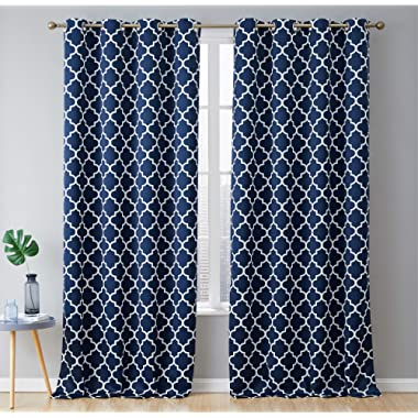 HLC.ME Lattice Print Decorative Thermal Insulated Privacy Blackout Energy Savings Room Darkening Grommet Window Drapes Curtain Panels for Living Room - Set of 2 (Navy Blue, 52 x 96 inch Long)