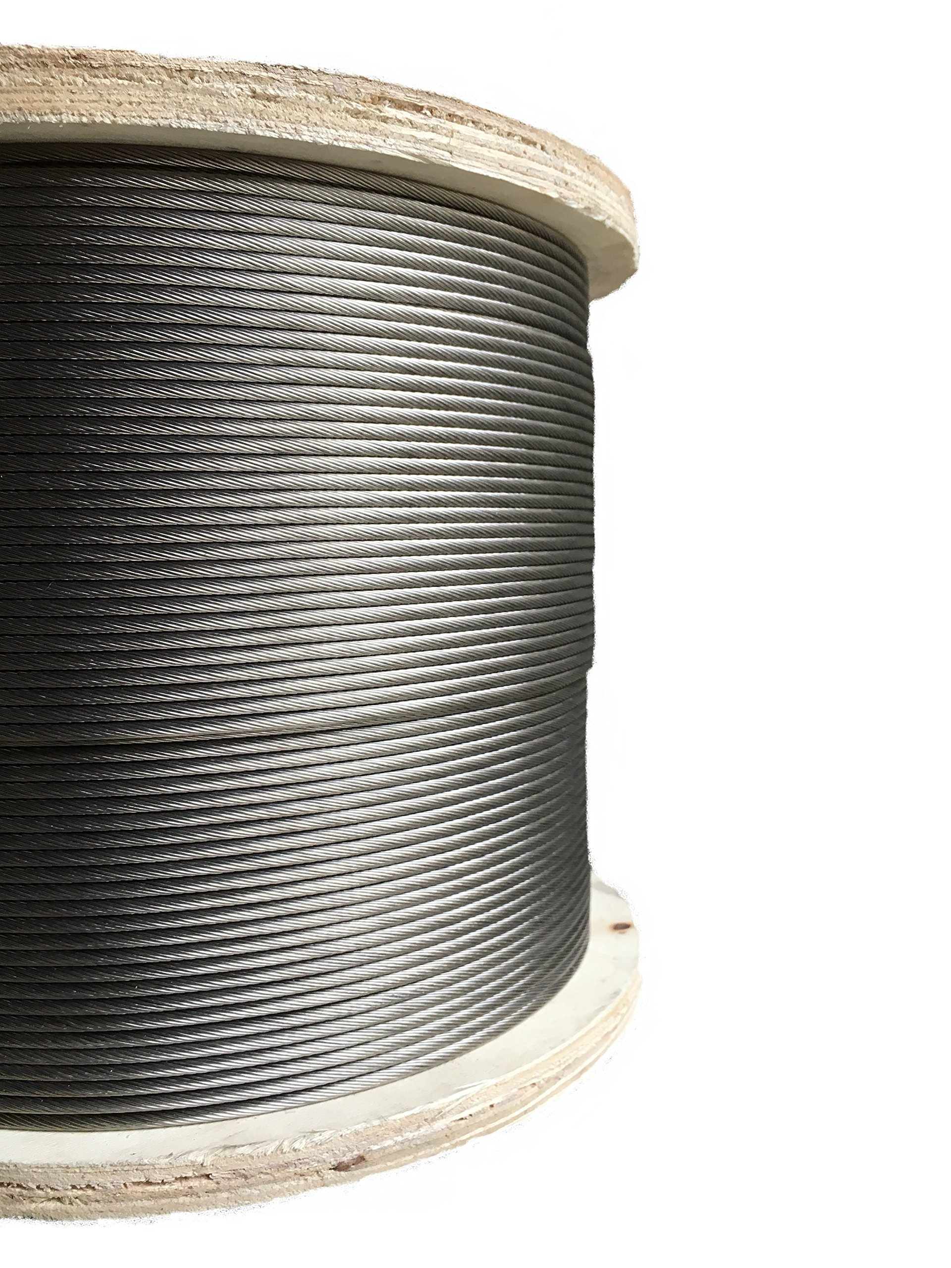 Stainless Steel Aircraft Cable 1/8'' 1x19 Type 316 Grade 250ft