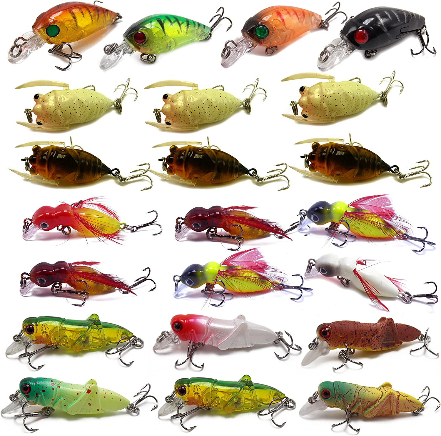5cm 4pcs Cicada Bass Insect Fishing Lures Crank Bait Floating Tackle WIth Box