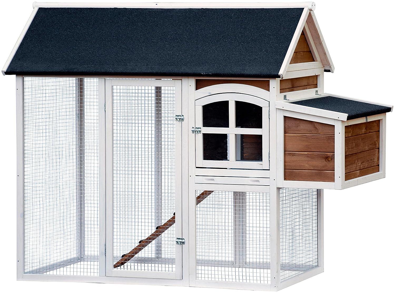 wei/ß-braun-schwarz dobar 23034FSC Gro/ßer dekorativer H/ühnerstall oder Kleintierstall XL mit Freigehege und 3er-Legebox 180 x 90 x 145 cm