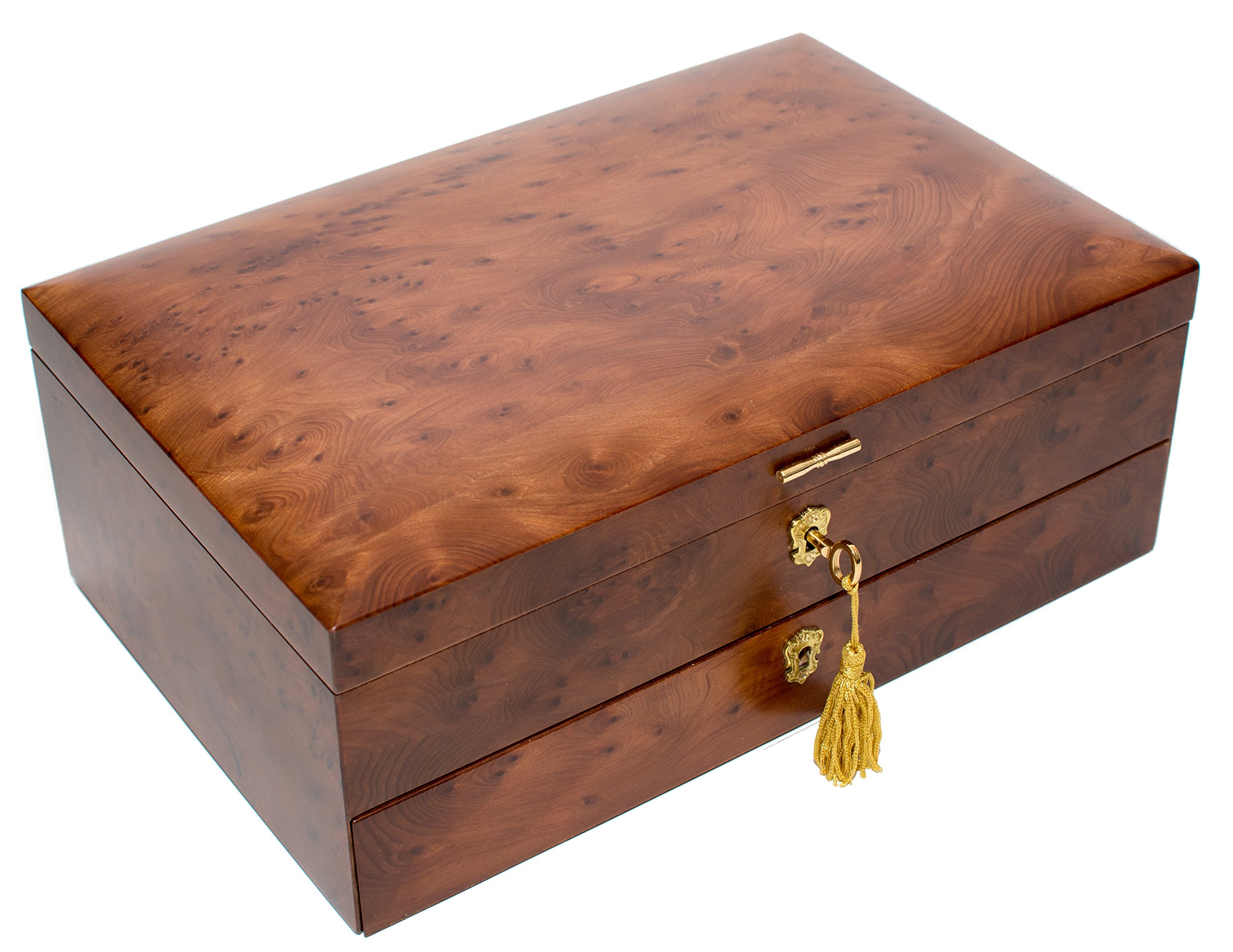Bello Collezioni - Via Del Corso Luxury Briar Wood Men's/Women's Jewelry Box. Made in Italy
