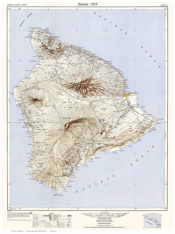 Amazoncom Hawaii Island 1954 Usgs Old Topographic Map Custom - Map-of-the-us-including-hawaii